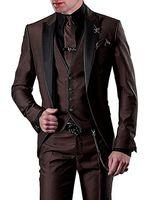 gilets gilets veste marron foncé achat en gros de-Brand New Tuxedos Groom Dark Brown Groomsmen Peak Black Revers Meilleur Costume Homme Mariage / Costumes Hommes Blazer Marié (Veste + Pantalon + Cravate + Gilet) A20