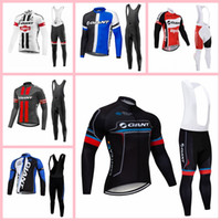Wholesale long sleeve cycling jersey sale for sale - Group buy Explosion trend hot sale GIANT team Cycling long Sleeves jersey bib pants sets Breathable Quick drying Outdoor Sports X70445