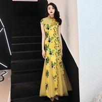 vestidos do baile de finalistas da cópia do chinês venda por atacado-Amarelo retalhos de malha Vestido Qipao Mulheres Rayon chinês Prom Dress Plus Size 3XL Imprimir Floral Cheongsam Botão Vintage Vestidos