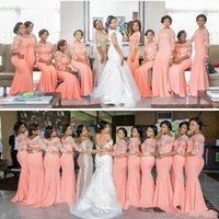 халаты светло-оранжевые оптовых-Светло-оранжевый плюс размер платья невесты 2019lace Иллюзия с длинным рукавом Русалка горничной честь Халаты шифон Свадебные платья гостей