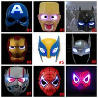 ingrosso luci led batman-LED Flash Mask Bambini Maschere di Halloween Incandescente Maschera di illuminazione Avengers Capitan America Batman Ironman Spiderman Maschera per feste 150 PZ AAA1924