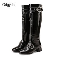 Wholesale knee high shoes buckles resale online - Gdgydh Genuine Leather Knee High Boots Women Sexy Buckle Rubber Sole Patent Leather Winter Boots Woman Party Shoes Plus Size