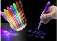 desenho caneta mágica venda por atacado-Grande Cabeça Luminosa Luz Caneta Magia Roxo 2 Em 1 UV Black Light Combo Desenho Invisível Caneta De Tinta Aprendizagem Educação Brinquedos Para criança