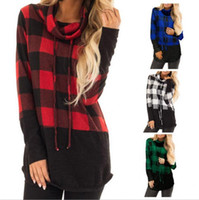 Wholesale clothes womens wholesalers online - Women plaid T Shirts long Sleeve Drawstring Cowl Neck Top Casual T Shirt Ladies Tops Pullover Womens Clothing MMA1337
