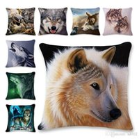Wholesale animal hospital for sale - Group buy 3d Animal Wolf Hemp Pillowcase Children Pillow Cover Lovely Student Household Man Woman Vehicle Use Pillow Cushion ls A1