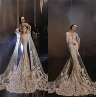 Wholesale mermaid white lace nude long dresses for sale - Group buy 2020 Vintage Mermaid Wedding Dresses Jewel Neck Lace Appliqued Sweep Train Long Sleeve Bridal Gowns Custom Made Boho Vestidos De Novia