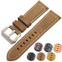 bracelets de montres en cuir vintage achat en gros de-22mm 24mm Vintage En Cuir Véritable Bracelet De Montre Bracelet Femmes Femmes Bracelets En Acier Inoxydable Boucle Accessoires Pour Panerai
