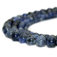 doğal gevşek değerli taş toptan satış-Doğal Taş Koyu Mavi Sodalite Boncuk Yuvarlak Taş Gevşek Boncuk DIY Bilezik Takı Yapımı için 1 Strand 15 Inç 4-10 MM