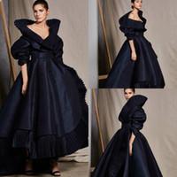 yüksek ruffle yaka toptan satış-2020 Yeni ASHI Studio Abiye Siyah V Yaka Yüksek Yaka Ruffles A Hattı Yarım Uzun Kollu Abiye Parti Yüksek Düşük Kırmızı Halı Elbise