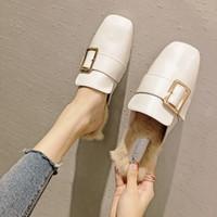 женщины плоские ботинки оптовых-square toe closed toe fur mules shoes women metal buckle flat slippers all-match furry loafers woman leather mules