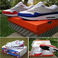 weiße sneakers oben großhandel-Heißer Verkauf Großhandel Atmos 87 Jahrestag 1 Piet Parra 87 Premium 1 DELUXE WATERMELON Weiß Blau Laufschuhe Sneaker Top-Qualität mit Box