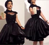Wholesale art busts resale online - Knee Length Black Lace Prom Dresses High Neck Keyhole Bust Cap Sleeves Beaded Applique Satin Short Homecoming Dresses