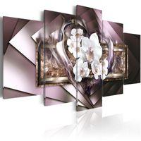obra de arte de pared grande al por mayor-Sin marco Gran Espejo Cristal Arte de la Lona Pintura de la Pared Contemporánea Orquídea Flor Decoración Imagen de impresión Moderna Corazón Blanco Artwork 5 Panel