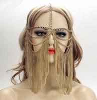 coiffe frontale achat en gros de-Sexy Femmes Multi Couche Tassel Head Chain Headdress Bijoux Front Bandeau Chainmail Visage Masque Corps Bijoux