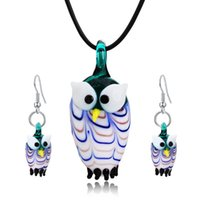 Wholesale mexican costumes women resale online - Owl Glass Jewelry Set Drop Earrings Pendent Necklace For Party Christmas Gifts For Women Costume Jewelry Accessories