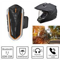bluetooth telsiz konuşmaları toptan satış-QTBE6 Motosiklet Kask Bluetooth Walkie Talkie Interkom FM Radyo Ile DSP Gürültü İptal Rüzgar Sesi Işleme