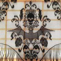 home decors vorhänge großhandel-Schädel Fledermaus Web Vorhang Topper Schal Halloween Haunted House Home Quaste Party Supplies Drop Shipping Wohnkultur