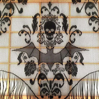Wholesale black toppers resale online - Skull Bat Web Curtain Topper Shawl Halloween Haunted House Home Tassel Party Supplies Drop shipping home decor