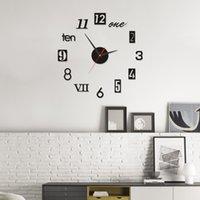 personalizar reloj al por mayor-2019 gran reloj de pared DIY Acrylicl Espejo reloj digital reloj de pared del envío 3D digital personalizado relojes de pared gratuito