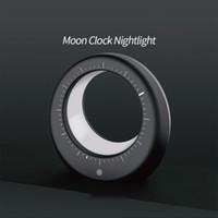 siyah ledli masa lambası toptan satış-Ay Gece Lambası Ay Dijital Çalar Saat Işık Şarj LED Masa Lambası USB Uyku Süresi Saatler Saat Işıkları Siyah Beyaz