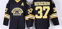 patrice bergeron черный ледяной трикотаж оптовых-Высокое качество Boston Bruins Jersey #37 PATRICE BERGERON черный хоккей Джерси, вышивка логотипы, размер M-XXXL, можно смешивать заказы