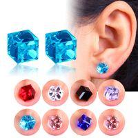 Wholesale 6mm stud earrings ear resale online - 6mm crystal Cube Magnetic stud earring Fake tragus Ear helix lip lobe Stud non piercing earring pairs pack