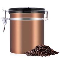 frascos de recipientes al por mayor-Conjunto de recipientes de almacenamiento de contenedores de granos de café hermético para granos de café Gound 1.5L Contenedor de té Tanque de metal Tanque de almacenamiento de cocina