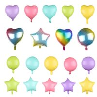 Wholesale party balloon online - 18 Inches Aluminum Foil Balloon Durable Multi Colors Helium Air Balloons Five Pointed Star Round Love Heart Shape Airballoon fy BB