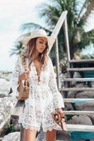 güneş marka dantel toptan satış-Septhydrogen Marka Tasarımcı Kadınlar Yaz Moda Hollow Out Plaj Coat Derin V-Yaka Dantel Elbise Bikini Bluz Güneş Koruyucu Giysi