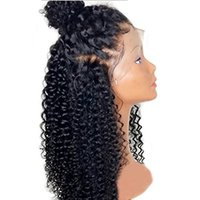 Wholesale 1b afro human hair wigs for sale - Group buy Hot density afro kinky curly lace front wig for black women pre plucked brazilian hair lace wig deep wave human hair wigs