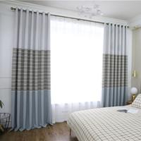 tejido de lino teñido de hilo al por mayor-Tejido de lino moderno simple teñido con hilo con cortinas de alto sombreado para sala de estar, comedor, dormitorio.