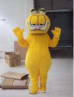 ingrosso personaggi del fumetto gatto giallo-Vestito caldo della mascotte del gatto di Garfield del vestito di vendita 2019 Formato adulto Caratteri gialli Vestito operato dal partito del fumetto Vestito con i punti neri