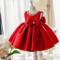 elbise oynamak kız prenses toptan satış-Kırmızı Bebek Kız 1 Yıl Doğum Günü Törenlerinde Yay Yenidoğan Giyim Prenses Parti Bebek Elbiseleri Kız Vaftiz Vaftiz Elbisesi Elbise