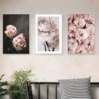 duvar süsleri duvar çiçekleri toptan satış-Romantik Modern Pembe Gül Çiçekler Tuval Resimleri Posterler Baskılar sevgililer Hediye Wall Art Resim Yatak Odası Ev Dekor