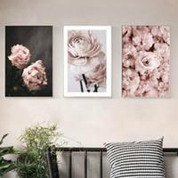 moderne romantische gemälde großhandel-Romantische Moderne Rosa Rose Blumen Leinwand Gemälde Poster Drucke Valentinstag Geschenk Wandkunst Bild Schlafzimmer Wohnkultur