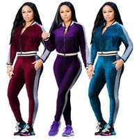 sweat pant suits 2021 - Casual Tight Leg Sports Suit Two-piece Stitching Slim Tracksuit Women Sweat Suits Crop Top Jacket + Pants Long Sleeve Two Piece Sets