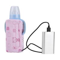 biberón para bebés al por mayor-USB Baby Milk Bottle Warmer Calentador Portátil de Viaje Biberón de Alimentación Infantil Cubierta Térmica Termostato de Aislamiento Calentadores de Biberones