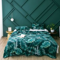 Wholesale king sized blankets resale online - Winter Gold Velvet Blanket Coral For Sofa Air Throw Travel Light Thin Leaves Green Queen King Size All Season