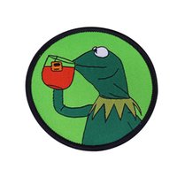 Wholesale kermit drinking tea for sale - Group buy Kermit Drinking Tea Iron on Patch Meme Frog Sipping Tea patch