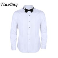 vestido de novia corbata de lazo blanco al por mayor-TiaoBug Hombre de manga larga Slim Fit Color sólido Camisas de vestir de esmoquin casuales con pajarita Camisa formal de fiesta de boda formal de negocios en blanco