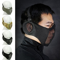 Wholesale face safety mask for sale - Group buy Tactical Game Mask Half Face Lower Face Protective Mask Paintball Tactical Protection Safety with Ear Mesh