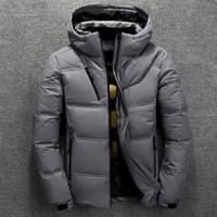 moda parka de nieve al por mayor-Chaqueta de invierno del Mens térmica gruesa capa de nieve Rojo Negro Parka Hombre caliente outwear-pato blanco por los hombres chaqueta