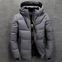 mode schnee parka großhandel-Winterjacke Herren Thermal Dicker Mantel Schnee Rot Schwarz Parka Warm Männer Outwear Mode-weiße Ente unten Jacken-Männer
