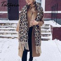 ingrosso sciarpa del cachemire del leopardo-Sciarpa inverno delle donne per le donne tataria leopardo sciarpa calda del cachemire molle addensare lunghi scialli e sciarpe leopardo del Brown Poncho Y191015
