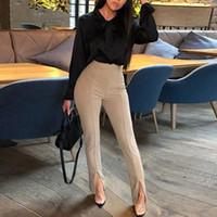 ingrosso pantaloni neri alla caviglia-Pantaloni casual da donna Harem Primavera Estate Moda Pantaloni alla caviglia Donna Classico Elastico in vita Nero Cammello Beige