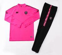 ingrosso tuta sportiva viola rosa-Best Sale 19/20 Paris Pink Tute 2019 2020 Man City Adulti Verde Sportwear SPURS Viola manica lunga mezza Zipper Tute da allenamento PSGG
