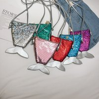 Wholesale mini laptop 12 resale online - Girls Love Mini Mermaid Sequins Shoulder Bags Coin Purse With Lanyard Beautiful Fish Shape Tail Small Portable Messenger Bag Colors A32902