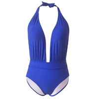 derin v boyun tek parça mayolar toptan satış-Kadın Mayo Ince Backless Seksi Halter Mayo Yaz Monokini Tek Parça Bikini Plaj Yüksek Bel Moda Yüzme Derin V Boyun