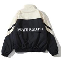 patines de moda al por mayor-Último Top Hip Hop Invierno 19fw Japón Skate Roller Letter Impreso Hombres Mujeres Cremallera de gran tamaño Chaquetas de moda Abrigo Ropa de algodón