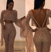 Wholesale black prom dress sequin top for sale - Group buy 2020 Fake Two Pieces Long Sleeves Sequins Prom Dresses Jumpsuit Sparkling Tops and Pants Long Vestidos de Festa Party Evening Gowns BC0240